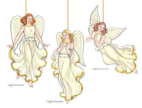 3 Angel Ornaments