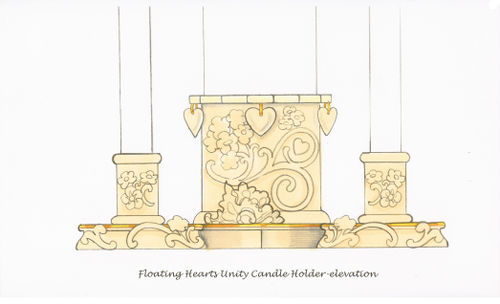 Floating Hearts Unity Candle for Lenox