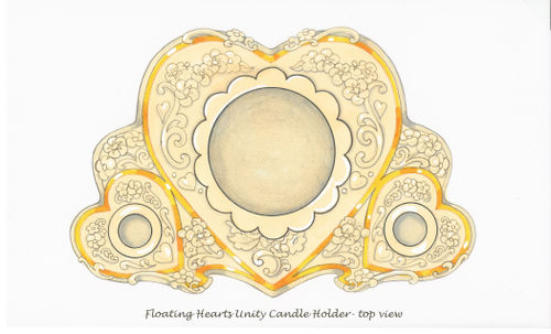 Floating Hearts Unity Candle for Lenox-top view