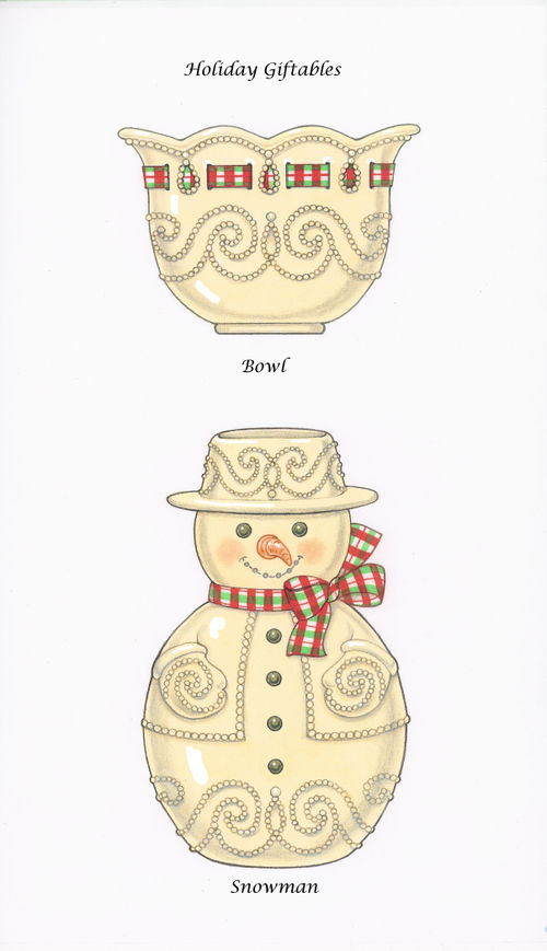 Christmas Giftables Bowl and Snowman Vase
