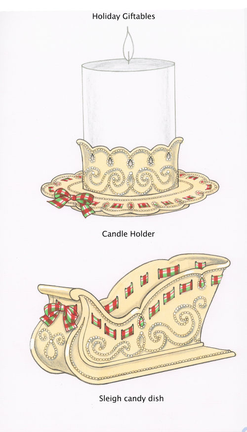 Christmas Giftables Candle Holder and Sleigh Candy Dish for Lenox